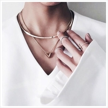 Gold Layering Collar Necklace + V Necklace