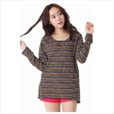 Colorful Stripes Round Neck Long Sleeved Maternity + Nursing Blouse - Colorful