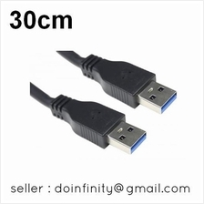 USB 3.0 Type A Male to Male Premium Quality Super Speed Cable 30cm New