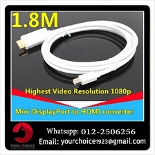 1.8M Mini Display Port DP to HDMI Male Adapter cable For Apple Macbook