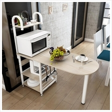 Bar Counter Dining Table with Attached Multipurpose Kitchen Shelf