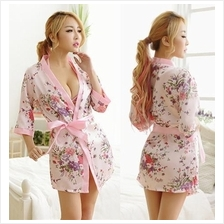 Pink Ice Silk Robes Japanese Kimono Lingerie Sleepwear Set)