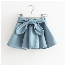 Girls Big Bows Denim Skirt)
