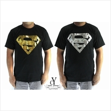 T.SHIRT,FOIL,GOLD,SILVER,CASUAL,DC,MARVEL,SUPERHERO,MAN OF STEEL,