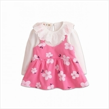 Flower Print Girl Long Sleeve Dress - White+Pink