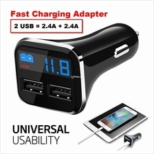 4.8A Quick Charge Dual USB 3 in 1 Smart LCD Car Charger & Volt Tester