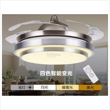 36 inch Retractable Ceiling Fan with 4 colors LED light and Remote