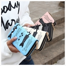 Cartoon Cat Embroidered Ladies Purse/Wallet