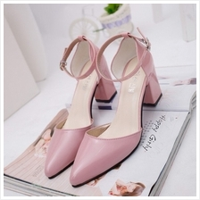 MT012137 Thick Heel Buckle Patent Leather Pointed Shoes