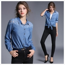 JF TC9161 Europe Fashion Lace Denim Shirts