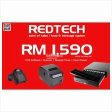 RedTech POS Package:Software+Receipt Printer+Scanner+Cash drawer