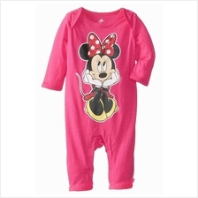 Minnie Mouse Print Baby Romper - Pink)