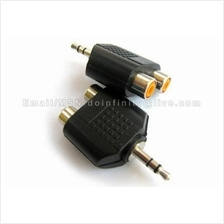 New 3.5mm Male to 2 RCA Female Stereo Audio Plug Adapter Converter