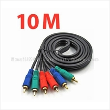 Quality RGB Gold Plated Male 3 RCA Component Video AV Cable 10M HDTV