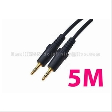 New 3.5mm Male Stereo Gold AUX Auxiliary Audio Cable 5M Car MP3 iPod