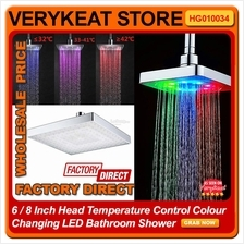 6 Inch Head Temperature Control Colour Changing LED Bathroom Shower