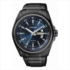 Citizen Eco-Drive Black Ion Plated Blue Dial Watch AW0024-58L