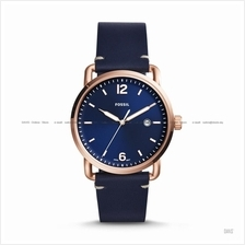 FOSSIL FS5274 Men's The Commuter Date Leather Strap Blue