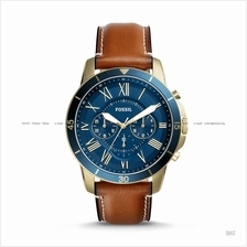 FOSSIL FS5268 Men's Grant Chronograph Leather Strap Blue Brown