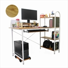 LivingCabinet Wooden Computer Table with Storage Rack [FREE] PC Stand