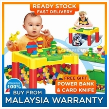 2 in 1 DIY Kids Educational Learning Desk and Bricks Set 90pcs