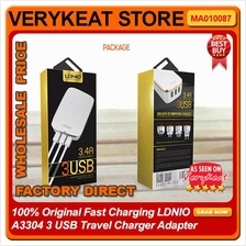 100% Original Fast Charging LDNIO A3304 3 USB Travel Charger Adapter