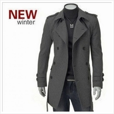 MT059011 Korean Men 's Double-breasted Thick Woolen Coat Jacket)