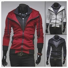 MT059185 Fashion Korean Slim Fit Casual Hooded Cardigan Sweater Jacket)