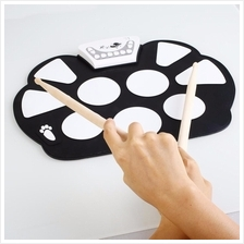 Professional Roll Up Electric Drum Pad Kit Silicon Foldable with Stick Portabl