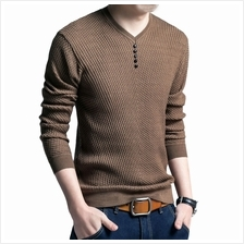 SIMPLE DESIGN LONG SLEEVE ROUND NECK MALE PULLOVER SWEATER (BROWN))