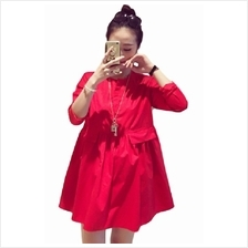 Simple Round Neck Long Sleeve Maternity Blouse/ Dress (M, L) - Red