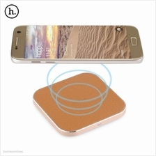 HOCO CW2 PU Leather Aluminum Alloy Frame Qi Wireless Charger with USB