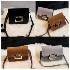 PU Leather Buckle Shoulder Bag (3 Colours Available)