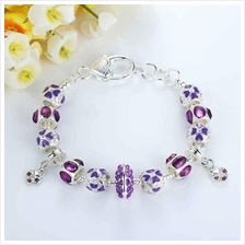 BAMOER 925S Silver Charm Bracelet with Autumn Collection Purple Crysta