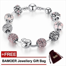 BAMOER925S Silver Charm Bracelet with Love&Flower Crystal Ball PA1455