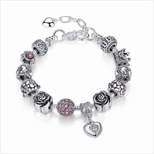 BAMOER 925S Silver Charm Bracelet with Crown Rose Pink Ball Beads