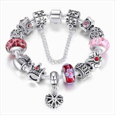 BAMOER 925S Silver Charm Bracelet with Queen Crown Beads Red Bracelet