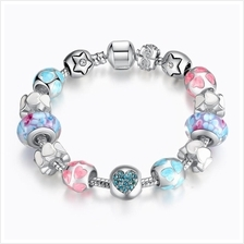 BAMOER 925S Silver Charm Bracelet with Heart Crystals & LOVE Colorful