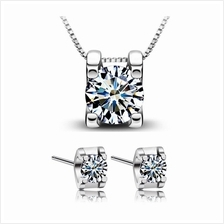 YOUNIQ Box 925 Sterling Silver Necklace Pendant with C.Z & Earring