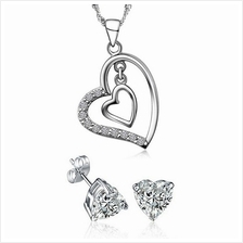 YOUNIQ Heart to Heart 925 S.S Pendant with C.Z Necklace & Earrings Set