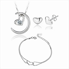 YOUNIQ Moon Lover 925 S.S Pendant with C.Z Necklace, Earrings&Bracelet