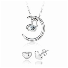 YOUNIQ Moon Lover 925 S.S Necklace Pendant Cubic Zirconia & Earrings