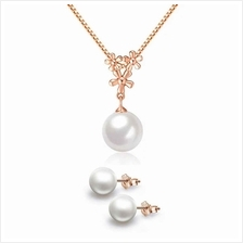YOUNIQ Pearl Drop 14K Rosegold Plated Silver Necklace Pendant &Earring