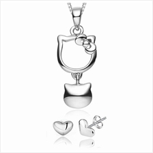 YOUNIQ Kitty Bell 925 S.S Necklace Pendant with Cubic Zirconia&Earring