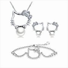 YOUNIQ Kitty Pearl 925 S.S Necklace Pendant with CubicZirconia&Earring