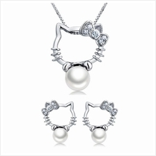 YOUNIQ Kitty Pearl 925 S.S Necklace Pendant Cubic Zirconia&Earrings