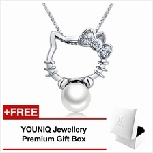 YOUNIQ Kitty Pearl 925 Sterling Silver Necklace Pendant Cubic Zirconia