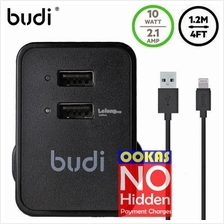 Budi 2.1A 2 USB Home Charger LED indicator FREE Lightning Cable M8J053