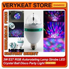 3W E27 RGB Autorotating Lamp Strobe LED Crystal Ball Disco Party Light