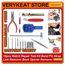 16pcs Watch Repair Tool Kit Band Pin Strap Link Remover Back Opener Re